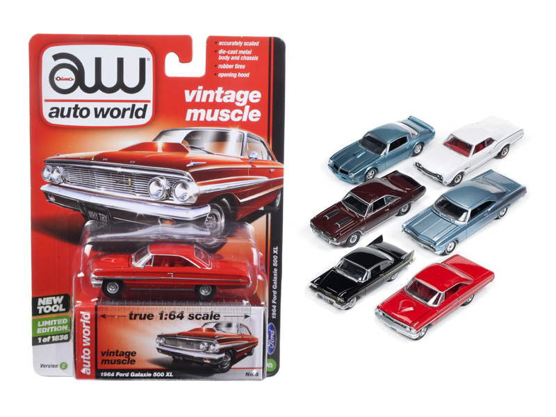 Autoworld Muscle Cars Release 5C Premium Licensed Set Of 6 Cars 1/64 Diecast Model Cars by Autoworld