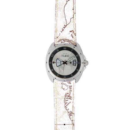 Prima Classe Mens Pch 720 Fu Silver Dial Day And Date Geo Design Leather Watch