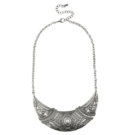 Lux Accessories Patterned Textured Tribal Statement Necklace.