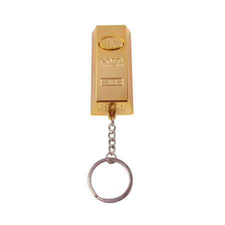 Gold Bar LED Flashlight Car Keychain Red Laser Pointer Keyring Bag Charm Key Ring Chain