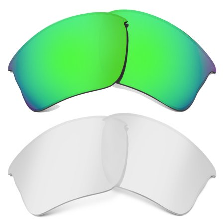 FLAK JACKET XLJ Replacement Lenses Crystal Clear & Green by SEEK fits (Crystal Green Lens)