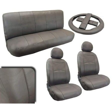Saturn Vue Leather Seats (Premium Leatherette Gray Padded Luxury Car Seat Covers Full Set Synth Leather For)