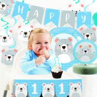 Bear Party 1st Birthday Decorations Kit