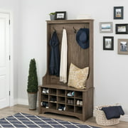 Prepac Wide Hall Tree and Bench with Shoe Storage, Drifted Gray