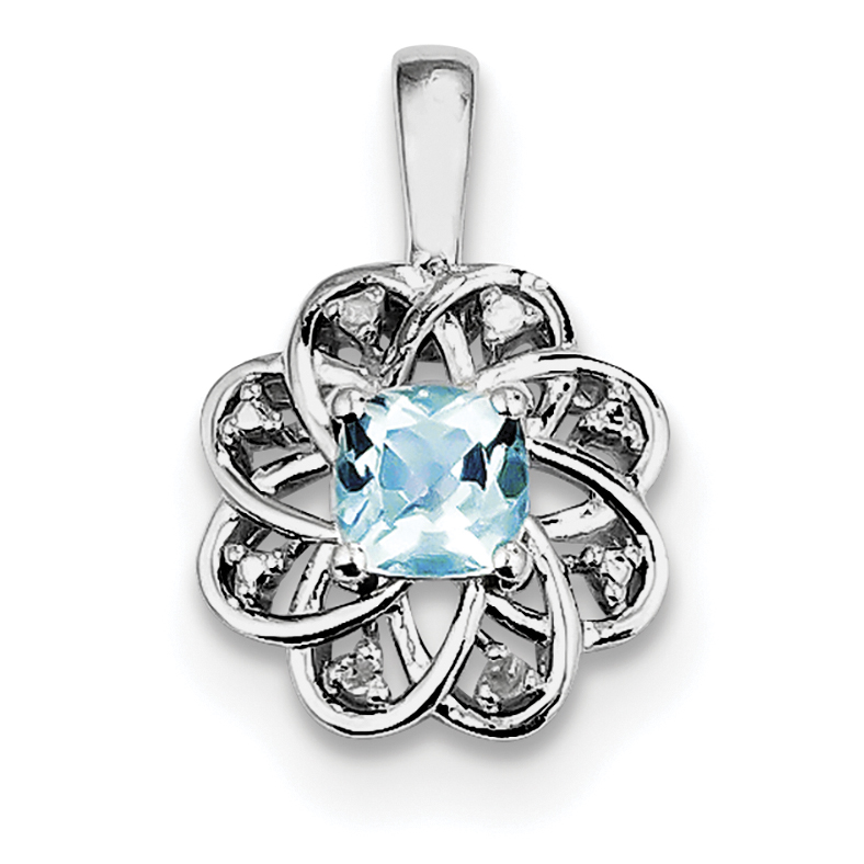925 Sterling Silver Rhodium Plated Diamond and Light Blue Topaz Pendant - image 2 of 2