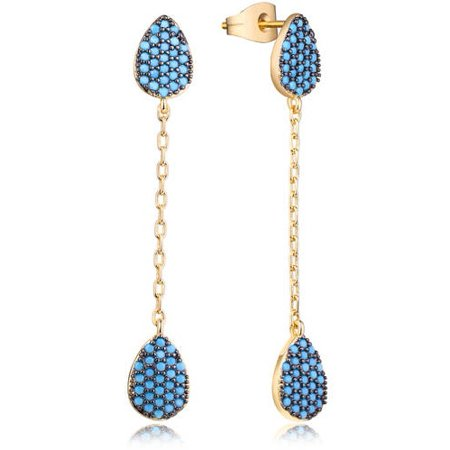 Brass Chain Earrings (18kt Gold Plated Brass & Genuine Turquoise Chain Pendant Earrings )