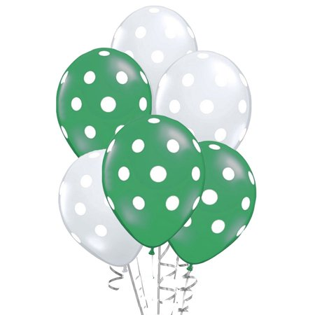 Polka Dot Balloons 11in Premium Emerald Green and Metallic Silver with All-Over print white Dots Pkg/100 - Emerald Green Metallic