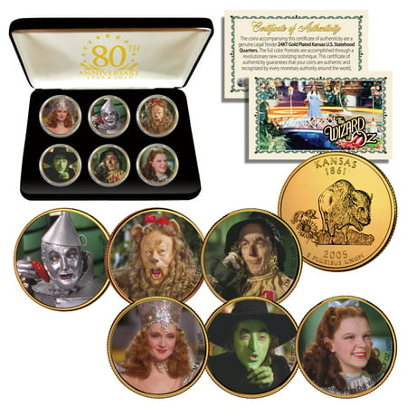 WIZARD OF OZ Kansas Quarters 24K Gold Clad 6-Coin Set with 80th ANNIVERSARY BOX Olympic Coin Sets