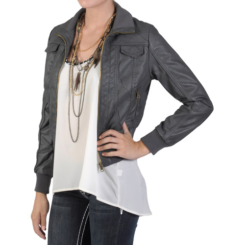 Brinley Co Juniors Zippered Faux Leather Jacket