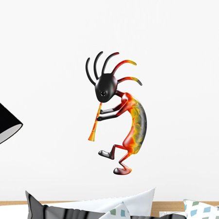 Kokopelli Decal - Kokopelli with Flute Wall Decal by Wallmonkeys Peel and Stick Graphic (18 in H x 18 in W) WM242399