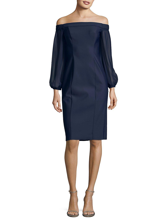 Illusion-Sleeve Off-The-Shoulder Sheath Dress
