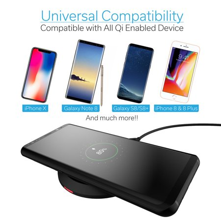 iPhone X Wireless Charger, Wireless Charger, by Cobble Pro 5W Standard Qi  Compatible Ultra Slim Wireless Charging Pad w/ Micro USB Cable for Apple