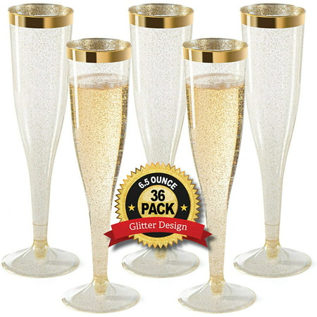 Plastic Champagne Flutes Disposable - Gold Glitter with a Gold Rim - Premium Toasting Glass - Elegant Stylish Mimosa Glasses Perfect for Weddings Anniversaries and Catered Events [1 Box of 36 ] 6.5 Oz