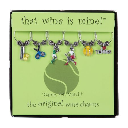 Wine Things 6-Piece Game, Set, Match! Wine Charms, Painted (Wine Matches)