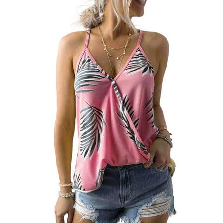 Women's Top Tank V-Neck Spaghetti Strap Shirt Cross Palm Cami Print Casual Beach -