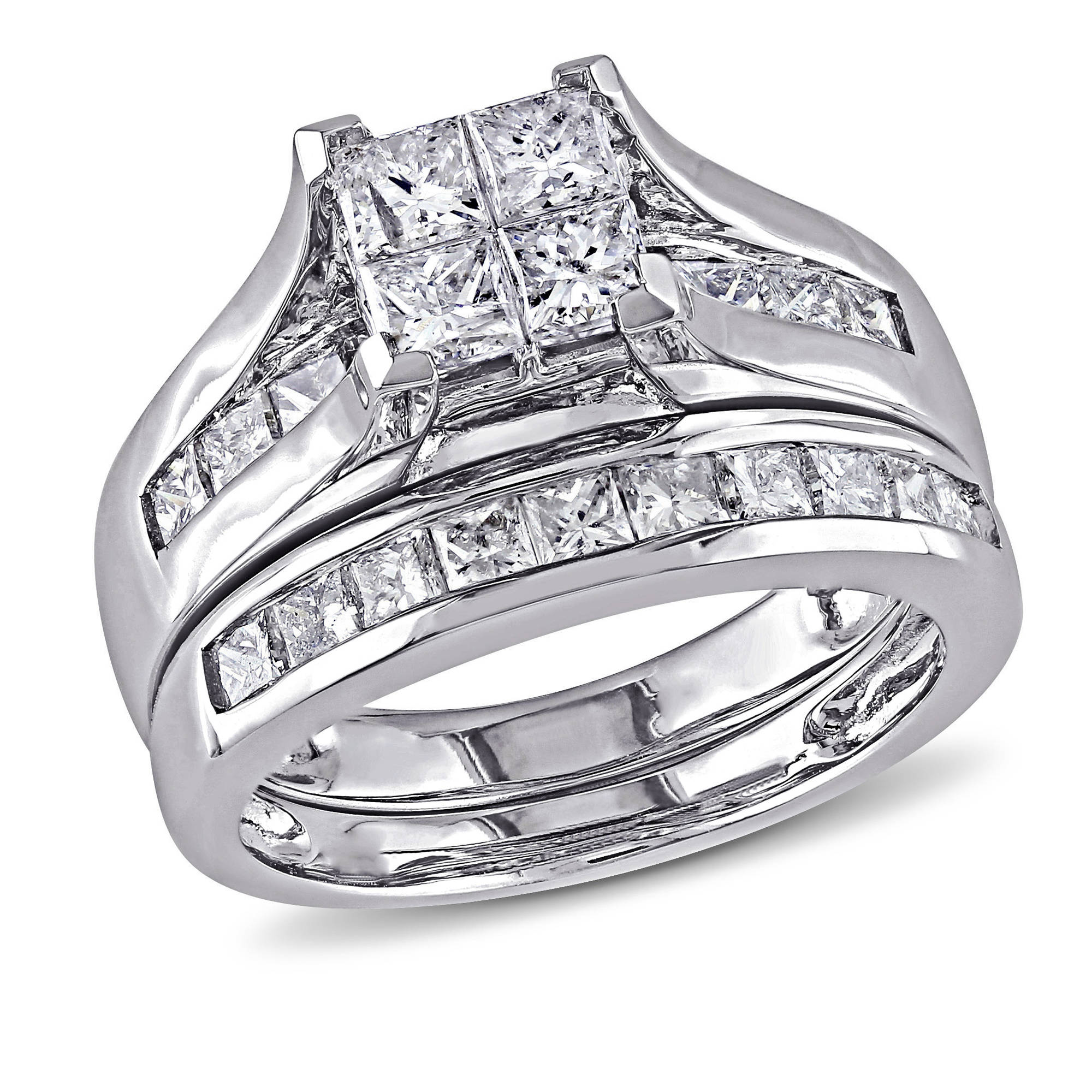 Miabella 2 Carat T.W. Princess-Cut Diamond 14kt White Gold Bridal Set by Delmar Manufacturing LLC