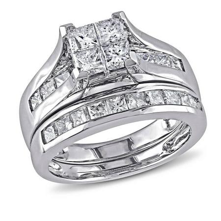 Miabella 2 Carat T W Princess Cut Diamond 14kt White Gold Bridal Set