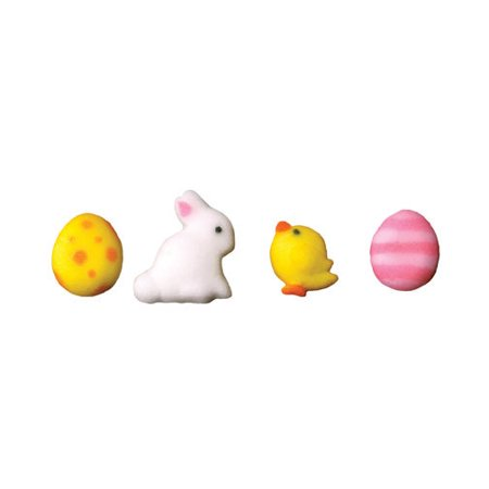 Adorable Mini Easter Assortment Eggs Bunny Chick Sugar Decorations Toppers Cupcake Cake Cookies Favors Party 12 Count - Easter Cupcake