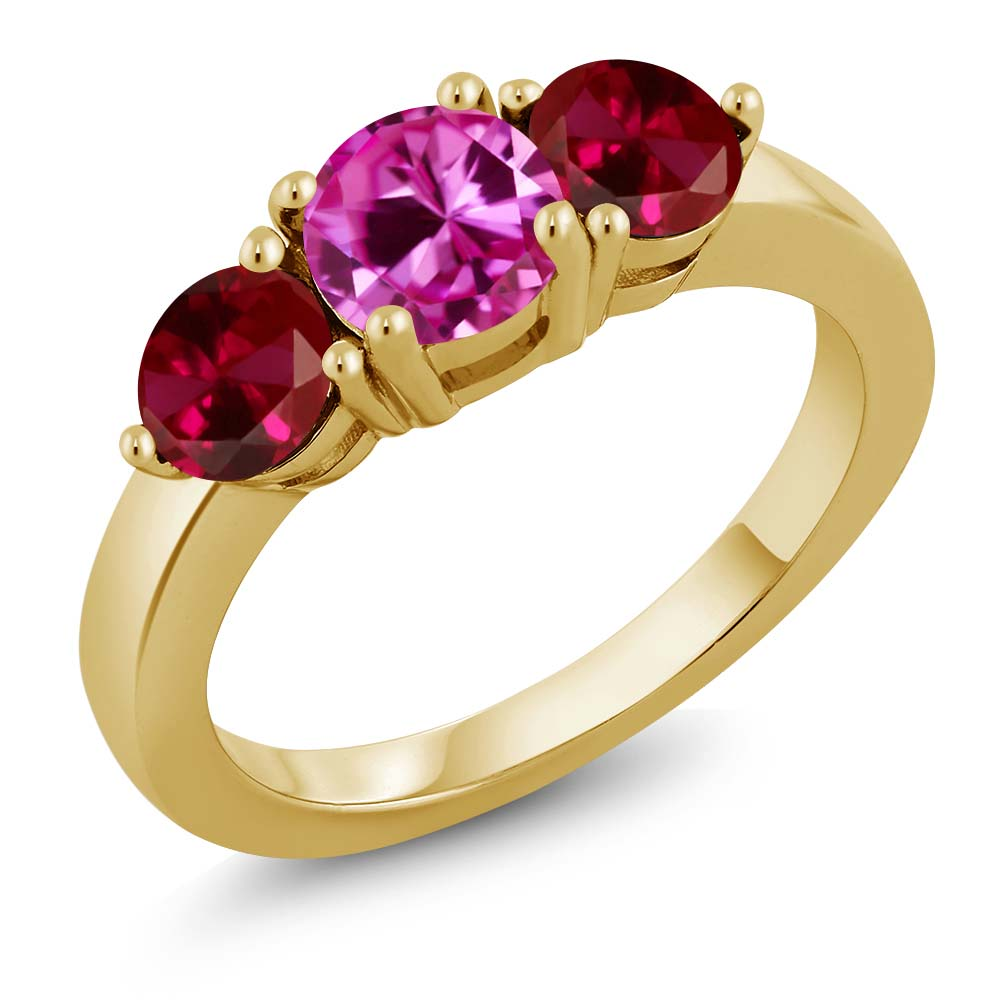 2.20 Ct Pink Created Sapphire Red Created Ruby 18K Yellow Gold Plated Silver Ring by