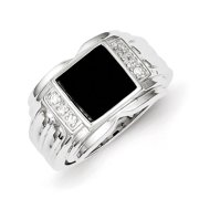 Sterling Silver Mens Cubic Zirconia and Simulated Onyx Ring - Ring Size: 9 to 11