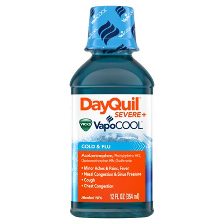 DayQuil SEVERE with Vicks VapoCOOL Cough, Cold & Flu Relief, 12 Fl Oz - Relieves Daytime Sore Throat, Fever, and Congestion, Count: 1