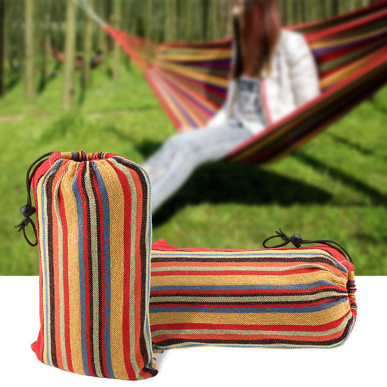 2 Person Portable Hammock Outdoor Leisure Double Bed Hanging Bed Sleeping Canvas Swing Hammock Camping Hunting