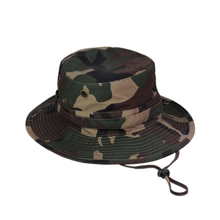 NYFASHION101 Men's Crushable Snap Brim Cotton Outdoor Bucket Sun Hat, Camouflage Green Cotton Big Brim Hat
