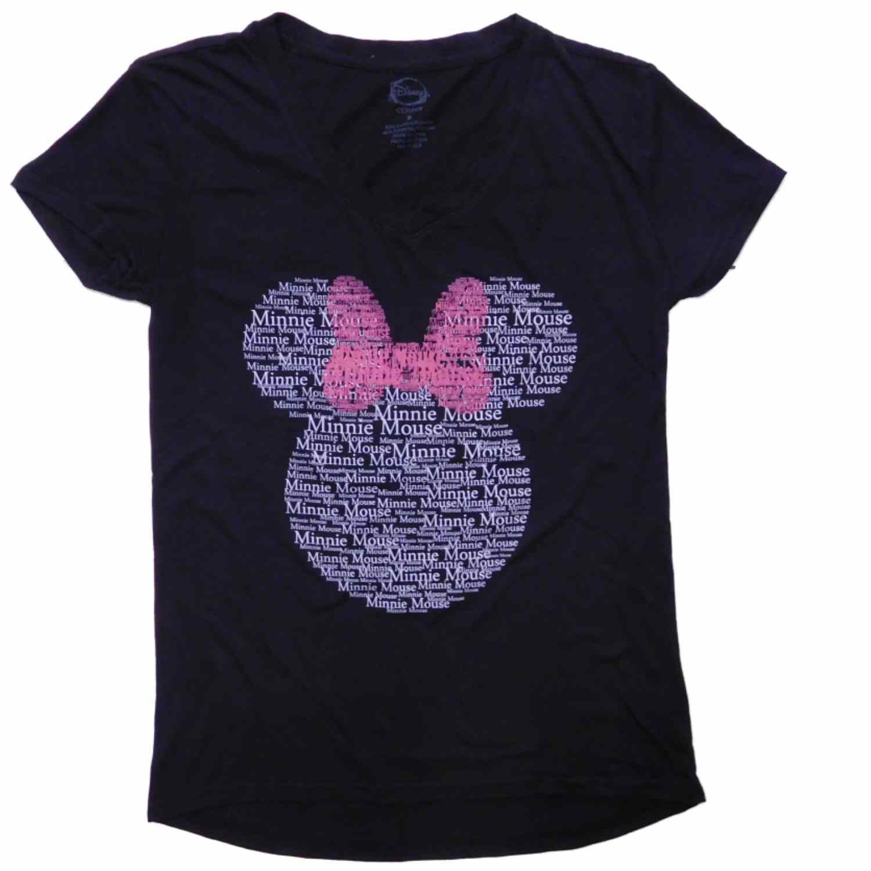 Disney Womens Black Minnie Mouse Ears Short Sleeve Tee Shirt