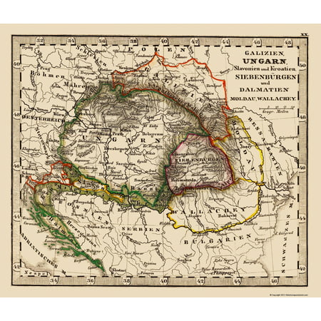 Old Eastern Europe Map Hungary Poland Balkan Peninsula 1852