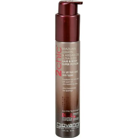 Giovanni 2chic Ultra-Sleek Hair & Body Super Potion, Brazilian Keratin & Argan Oil, 1.8