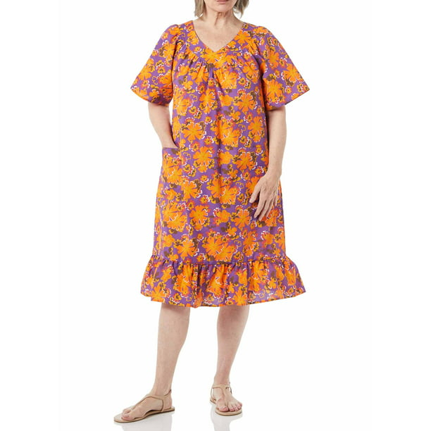 women's summer clothes on sale : AmeriMark Women's Casual Print Sun Dress - House Dress with Front Patch Pockets