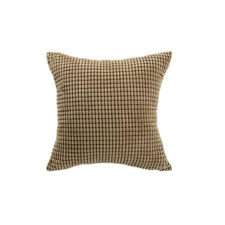 "Sofa Cushion Cover Striped Corduroy Throw Toss Pillow Cases 18"" Brown - image 7 de 7"