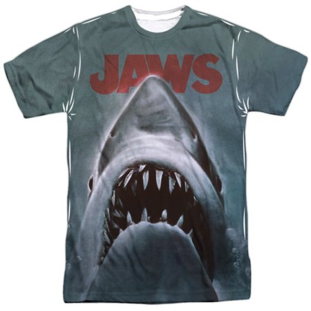 Jaws 1970's Shark Thriller Spielberg Movie Film Poster Adult Front Print T-Shirt - Men's 1970's Clothing