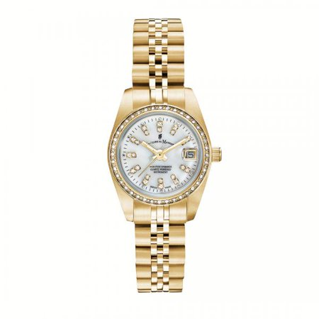 Standard Issue Swiss Watch - Jacques Du Manoir Swiss Made Gold Women's Watch featuring Mother of Pearl Dial 26 mm NROP12