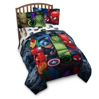 Avengers Infinity War Reversible Twin Comforter and 3 Piece Twin Sheet Set with Throw