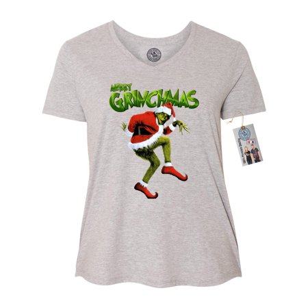 Merry Grinchmas Grinch Christmas Plus Size Womens VNeck Shirt Top - Life Size Grinch