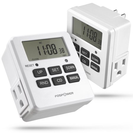 Digital outlet timer fospower [2pack] [etl listed] digital lcd dual