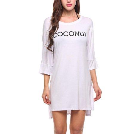 7cfed8b1539d Women Casual Short Sleeve O Neck Letter Print Loose Pullover Beach T-Shirt  HFON - Walmart.com