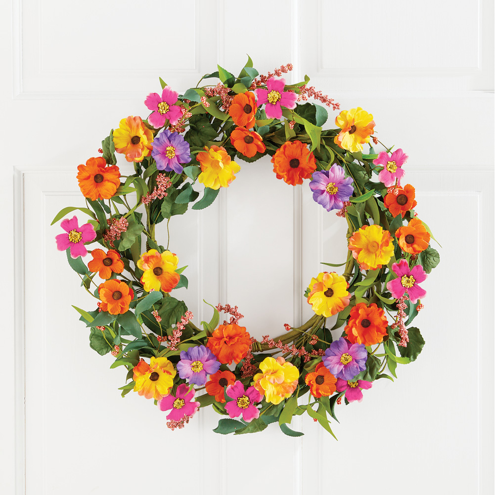 """NEW Spring Colorful Mixed Floral Decorative Wreath w// Hook 21/""""Dia"""