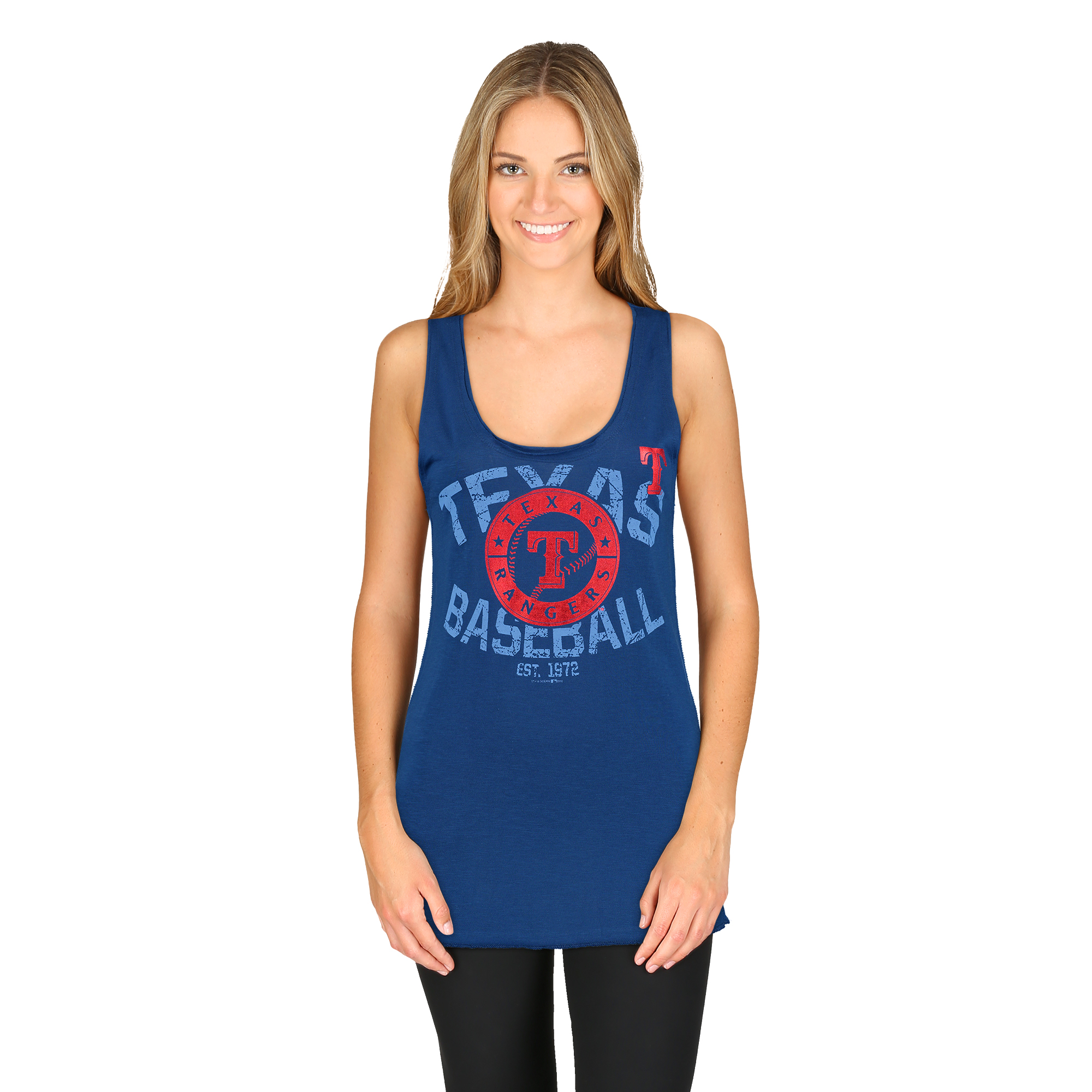 Women's 5th & Ocean by New Era Royal Texas Rangers Slub Jersey Raw Edge Tank Top