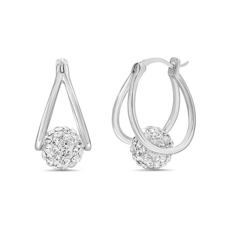 Lesa Michele Women's Faceted Crystal Floating Fireball Double 15MM Hoop Earrings in Rhodium Plated Brass Made with Swarovski Crystals (Color: Crystal)