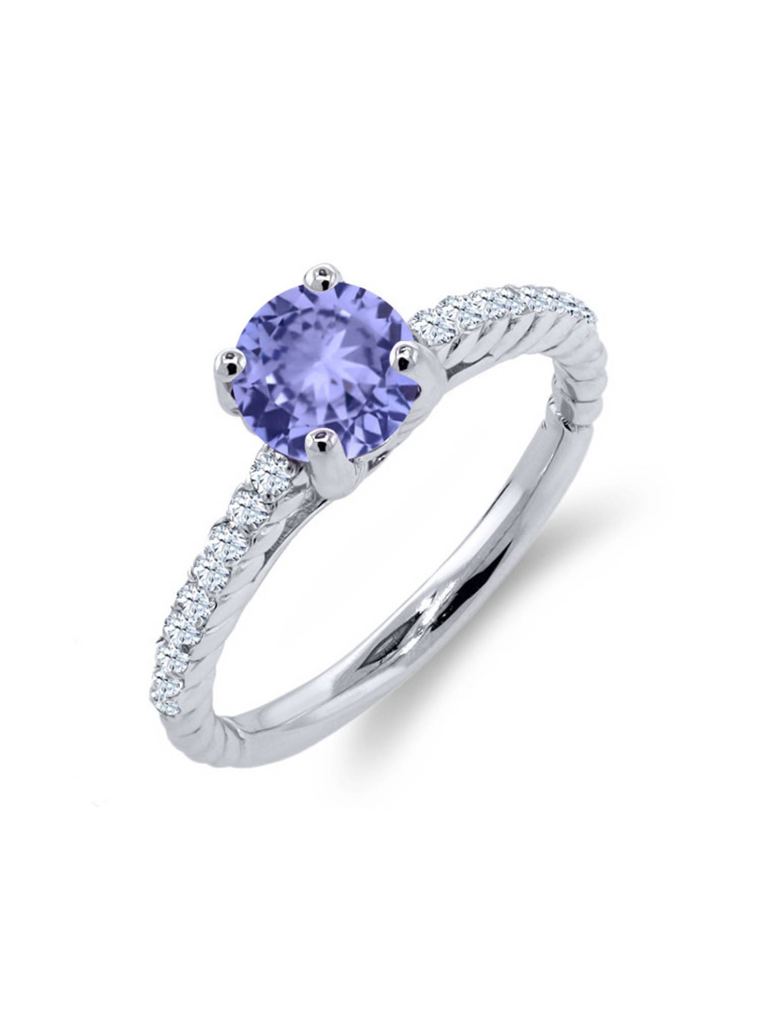 1.12 Ct Round Blue Tanzanite White Created Sapphire 925 Sterling Silver Ring by