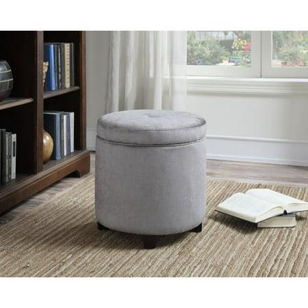 Image of AC Pacific Mia Small Grey Fabric Round Storage Ottoman