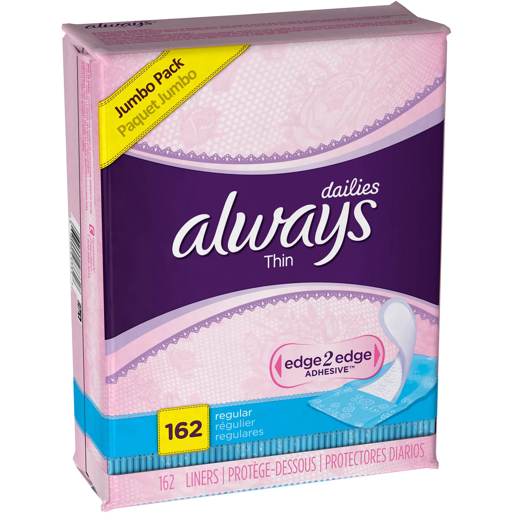 Always Thin Dailies Regular Liners, 162 count