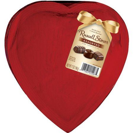 Russell Stover Assorted Chocolates Wrapped Heart In Red Cellophane, 7 oz