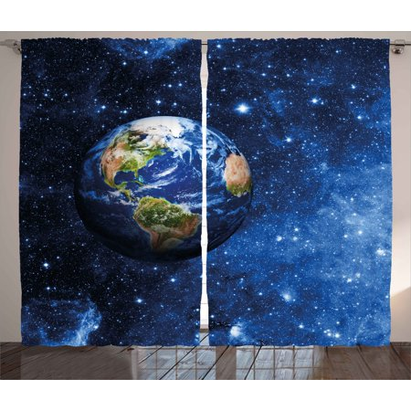 Space Curtains 2 Panels Set, Outer View of Planet Earth in Solar System with Stars Life on Globe Themed Image, Window Drapes for Living Room Bedroom, 108W X 84L Inches, Blue Green, by Ambesonne ()