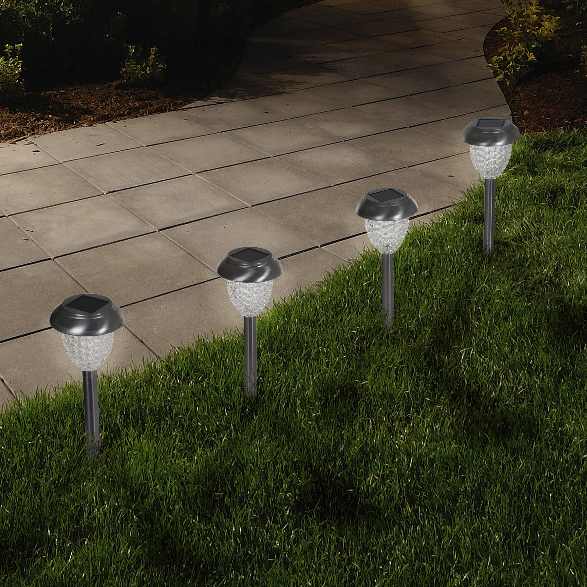 Solar Powered Glass Lights Set of 6 LED Outdoor Stake Spotlight Fixture for Gardens, Pathways
