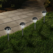Solar Powered Glass Lights (Set of 6)- LED Outdoor Stake Spotlight Fixture for Gardens, Pathways, and Patios by Pure Garden