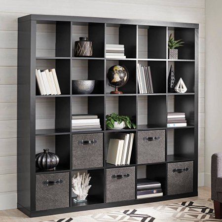 Better Homes and Gardens 25 Cube Organizer Room Divider, Solid Black