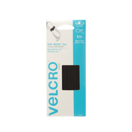 Velcro Plus Cable Wraps - VELCRO? Brand ONE-WRAP? Ties For Cables and Wires, 8in x 1/2in Ties, Black, 5 ct